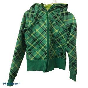 LULULEMON green tartan scuba hoodie